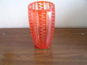 вазы для   цветов из красного двухслойного  стекла  5шт